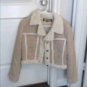 BEBE Sherpa Lined Corduroy Jacket